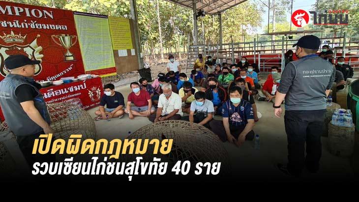 จับสนามชนไก่ทุ่งเสลี่ยมสุโขทัยเปิดผิดกฏหมาย รวบเซียนไก่ชน 40 ราย